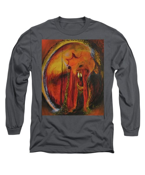 Long Sleeve T-Shirt featuring the painting Sorcerer's Gate by Christophe Ennis