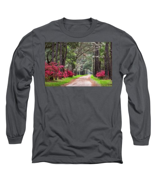 South Carolina Lowcountry Spring Flowers Dirt Road Edisto Island Sc Long Sleeve T-Shirt