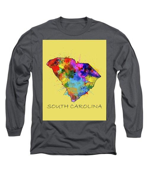 South Carolina Map Color Splatter 4 Long Sleeve T-Shirt