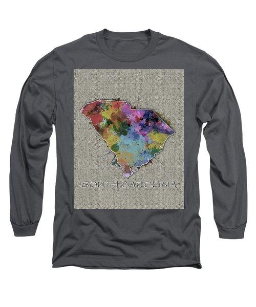 South Carolina Map Color Splatter 5 Long Sleeve T-Shirt