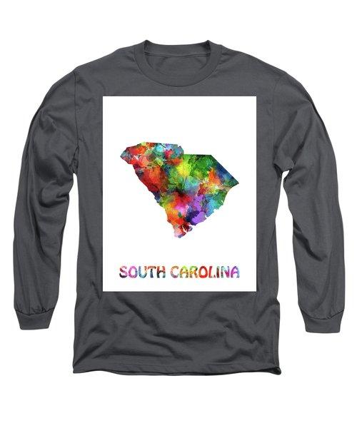 South Carolina Map Watercolor Long Sleeve T-Shirt