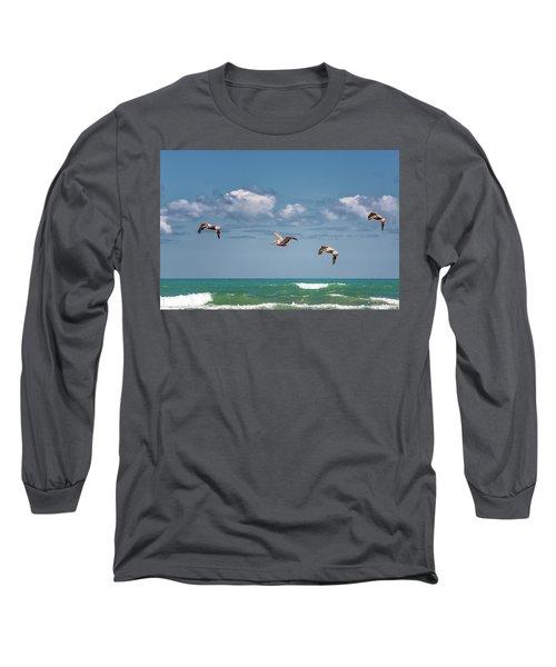 South Padre Island Pelicans Long Sleeve T-Shirt