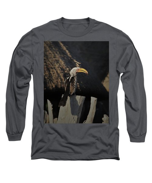 Long Sleeve T-Shirt featuring the digital art Southern Yellow Billed Hornbill by Ernie Echols