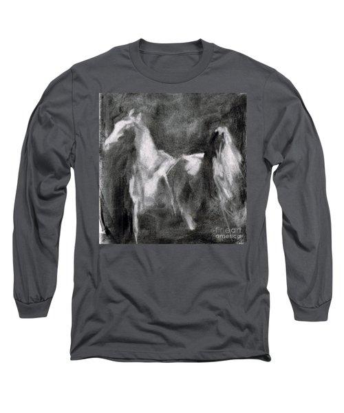 Southwest Horse Sketch Long Sleeve T-Shirt by Frances Marino
