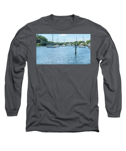 Long Sleeve T-Shirt featuring the photograph Spa Creek In Blue by Charles Kraus