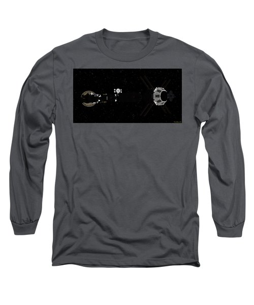 Spaceship Uss Savannah In Deep Space Long Sleeve T-Shirt