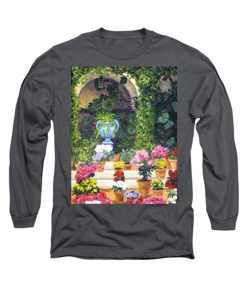 Spanish Courtyard Long Sleeve T-Shirt by Lynne Reichhart