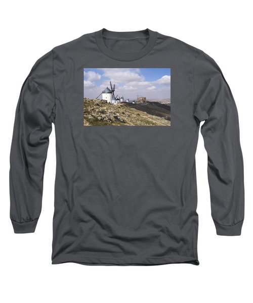 Spanish Windmills And Castle Of Consuegra Long Sleeve T-Shirt by Perry Van Munster