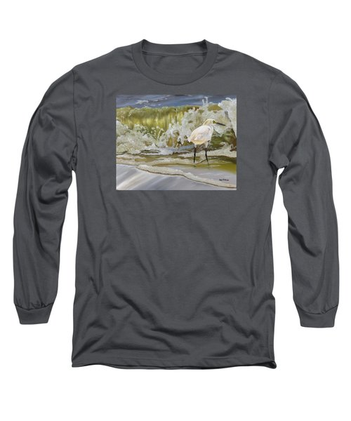Long Sleeve T-Shirt featuring the painting Sparking Snowy Egret by Phyllis Beiser