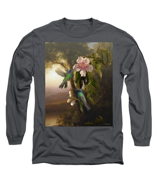 Sparkling Violetear Hummingbirds And Trumpet Flower Long Sleeve T-Shirt
