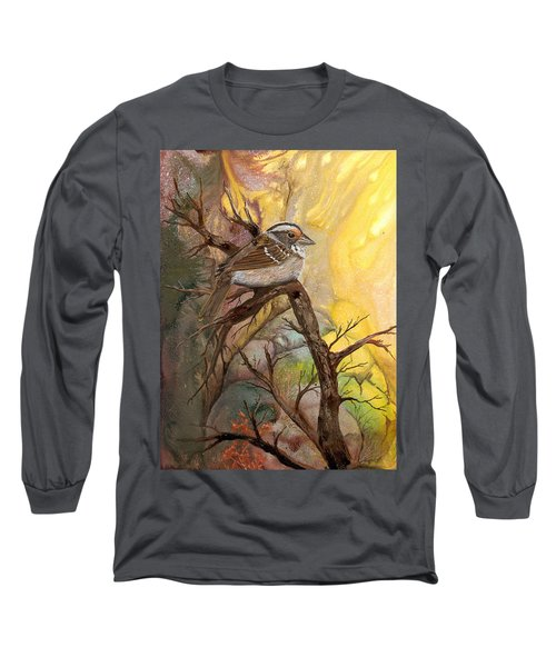 Long Sleeve T-Shirt featuring the painting Sparrow by Sherry Shipley