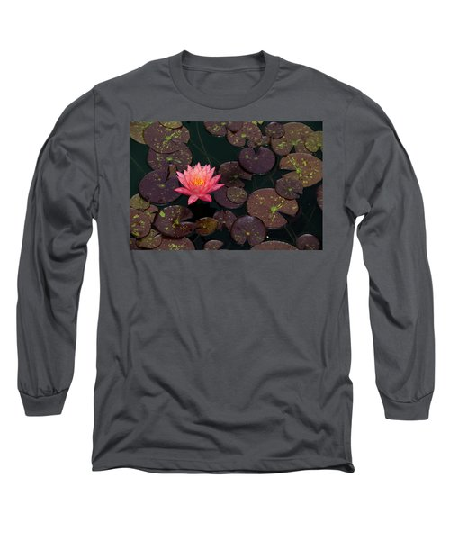 Speckled Red Lily And Pads Long Sleeve T-Shirt