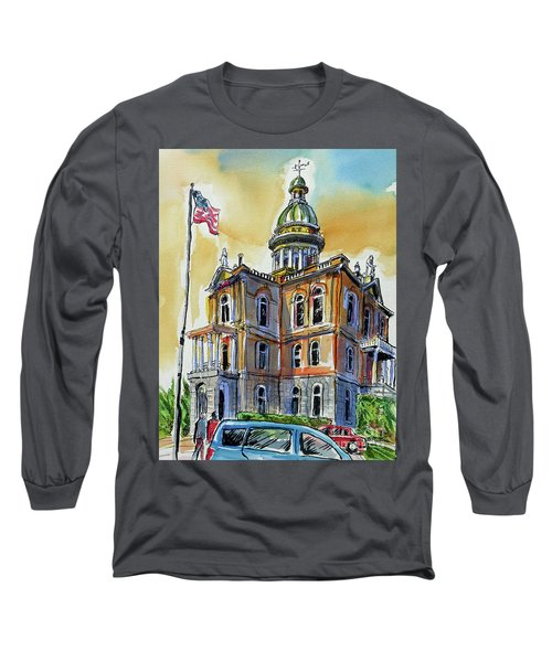 Long Sleeve T-Shirt featuring the painting Spectacular Courthouse by Terry Banderas