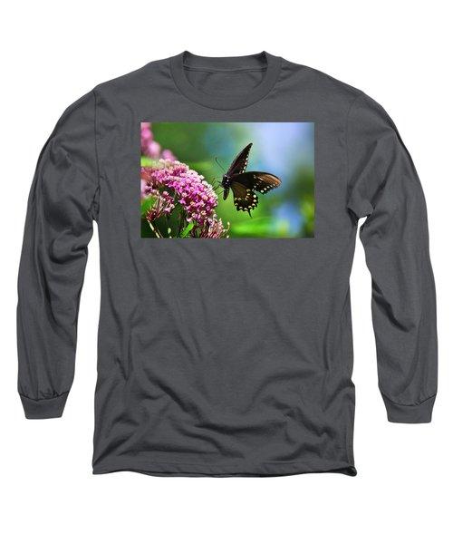 Spicebush Swallowtail Butterfly On Pink Flower Long Sleeve T-Shirt