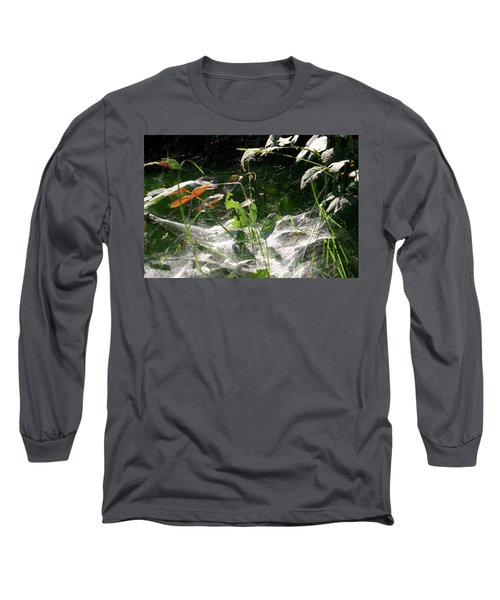 Long Sleeve T-Shirt featuring the photograph Spiderweb Over Rose Plants by Emanuel Tanjala