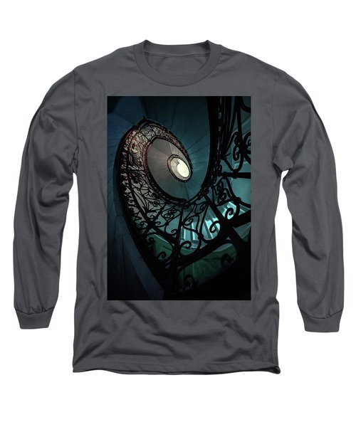 Long Sleeve T-Shirt featuring the photograph Spiral Ornamented Staircase In Blue And Green Tones by Jaroslaw Blaminsky