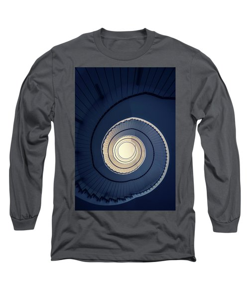 Spiral Staircase In Blue And Cream Tones Long Sleeve T-Shirt by Jaroslaw Blaminsky