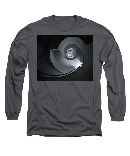 Spiral Staircase In Grey And Blue Tones Long Sleeve T-Shirt by Jaroslaw Blaminsky