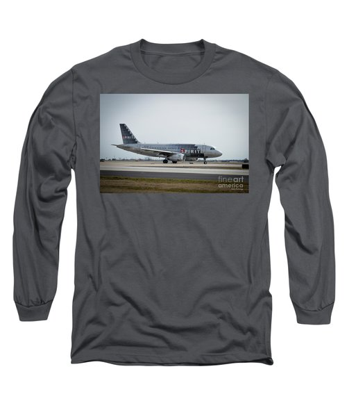 Long Sleeve T-Shirt featuring the photograph Spirit Airlines A319 Airbus N523nk Airplane Art by Reid Callaway