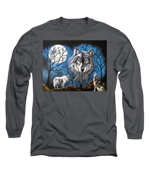 Spirit Wolf Long Sleeve T-Shirt by Teresa Wing