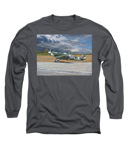 Spitfire Under Storm Clouds Long Sleeve T-Shirt by Paul Gulliver
