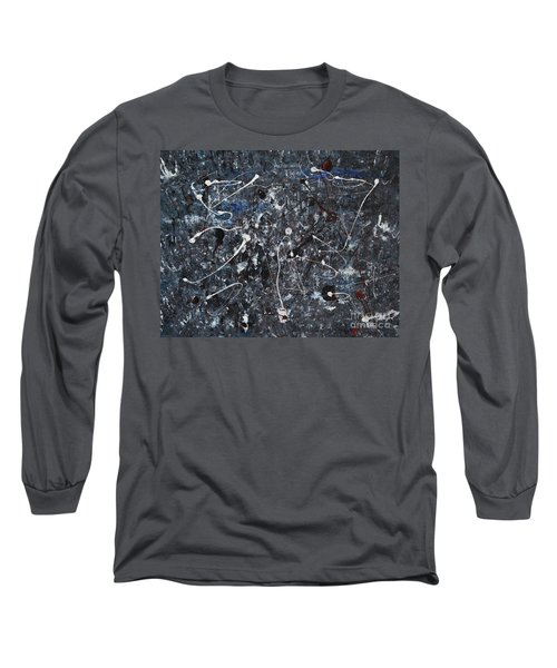 Long Sleeve T-Shirt featuring the painting Splattered - Grey by Jacqueline Athmann