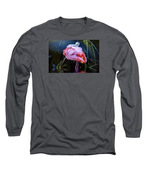 Long Sleeve T-Shirt featuring the photograph Spoonbill Fandance by Brian Tarr