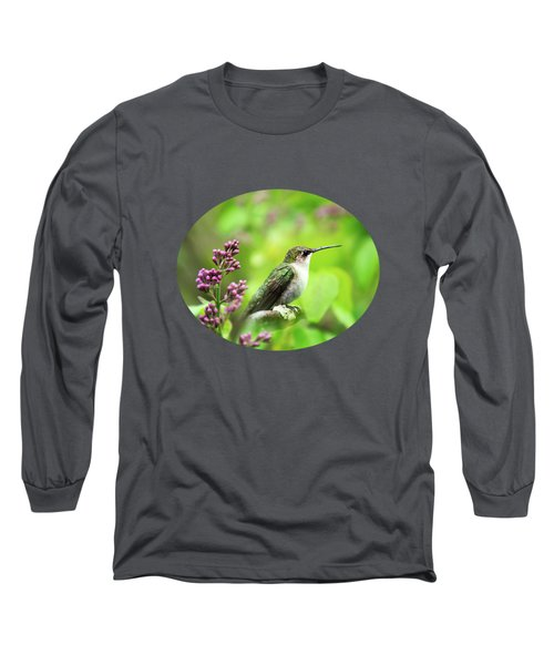 Spring Beauty Ruby Throat Hummingbird Long Sleeve T-Shirt by Christina Rollo