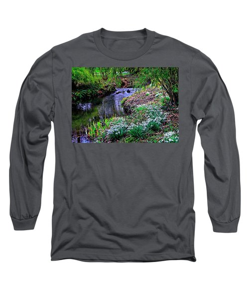 Spring Snowdrops By Stream Long Sleeve T-Shirt