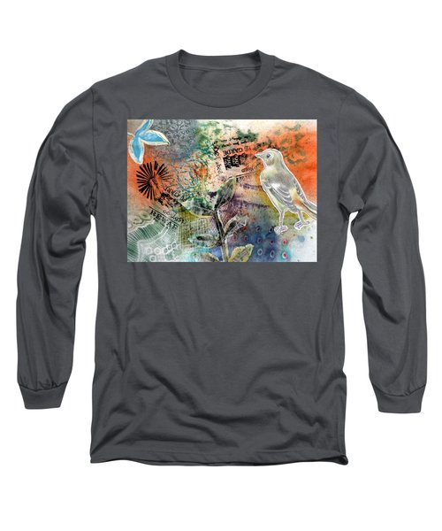 Long Sleeve T-Shirt featuring the mixed media Spring Song by Rose Legge