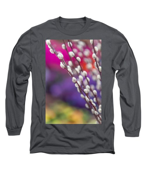 Spring Willow Branch Of White Furry Catkins Long Sleeve T-Shirt