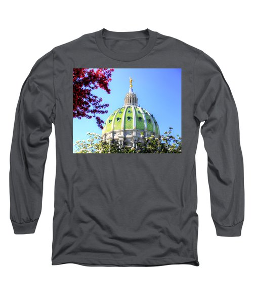 Long Sleeve T-Shirt featuring the photograph Spring's Arrival At The Pennsylvania Capitol by Shelley Neff