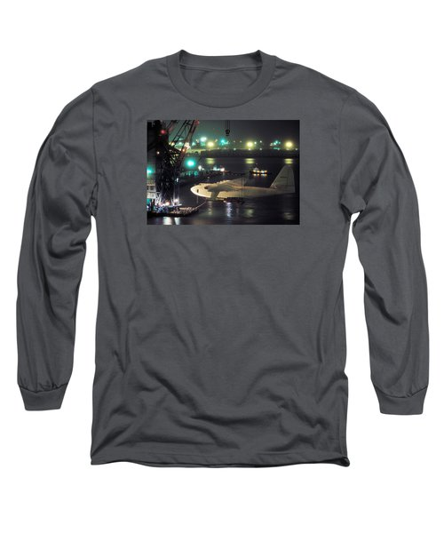 Spruce Goose Hanging From Crane February 10 1982 Long Sleeve T-Shirt by Brian Lockett