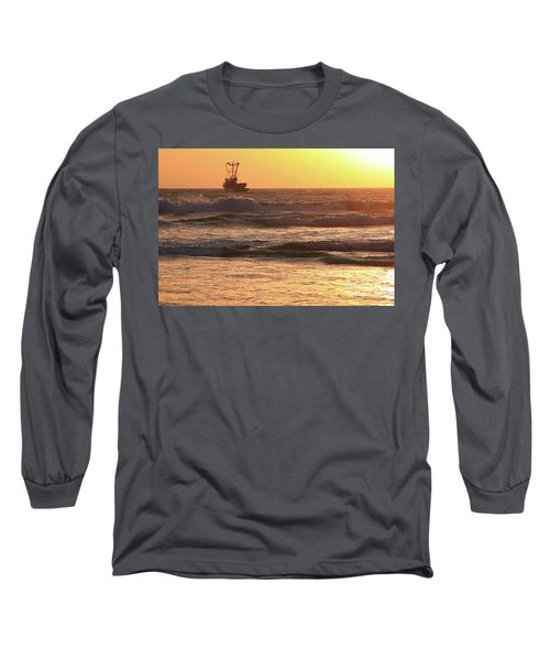 Squid Boat Golden Sunset Long Sleeve T-Shirt