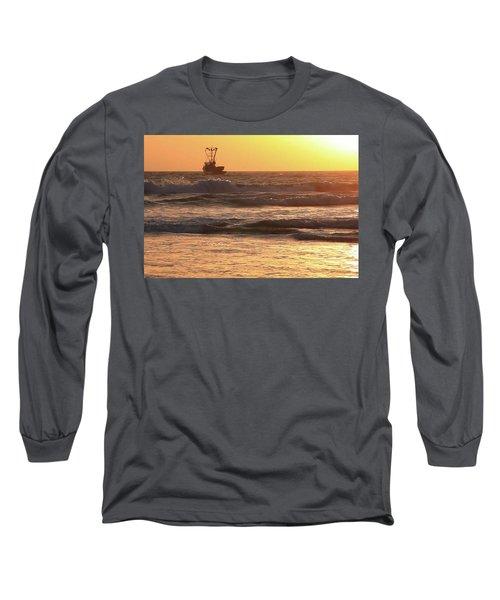 Squid Boat Golden Sunset Long Sleeve T-Shirt