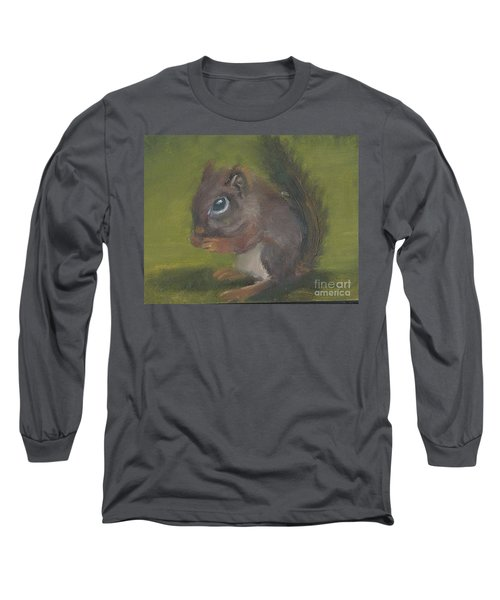 Long Sleeve T-Shirt featuring the painting Squirrel by Jessmyne Stephenson