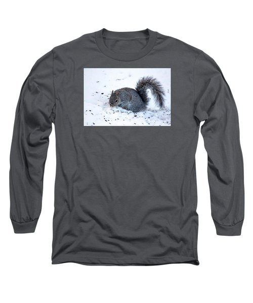 Long Sleeve T-Shirt featuring the photograph Squirrel On The Hunt by Trina Ansel
