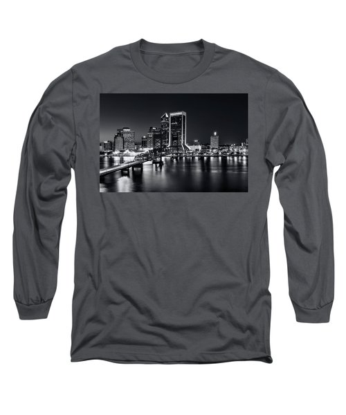 St Johns River Skyline By Night, Jacksonville, Florida In Black And White Long Sleeve T-Shirt