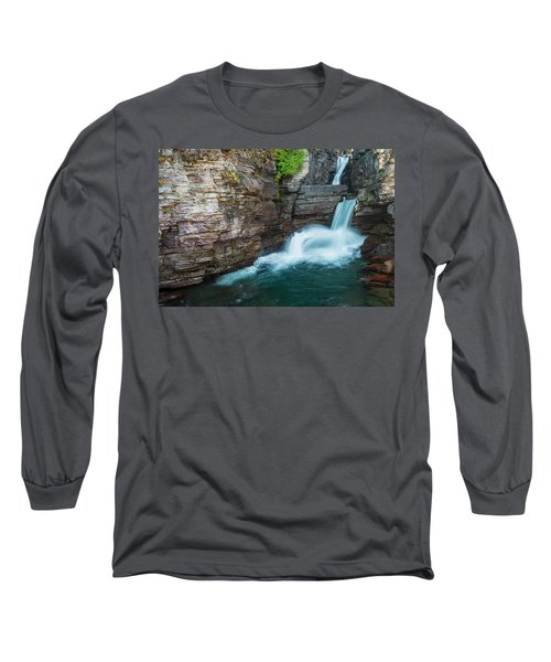 Long Sleeve T-Shirt featuring the photograph St. Mary Falls by Gary Lengyel