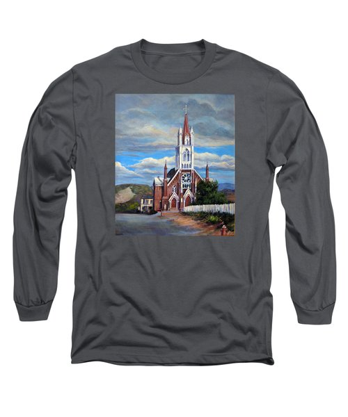 Long Sleeve T-Shirt featuring the painting St. Mary Of The Mountains by Donna Tucker