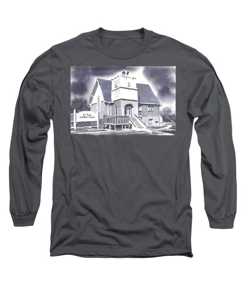 Long Sleeve T-Shirt featuring the painting St Paul Lutheran With Ink by Kip DeVore
