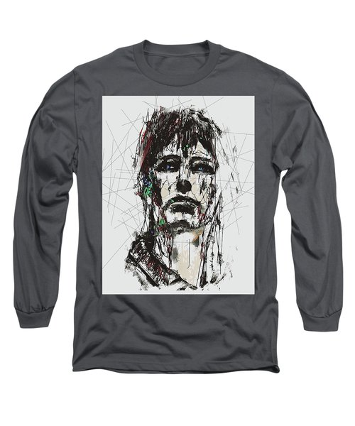 Long Sleeve T-Shirt featuring the digital art Staggered Abstract Portrait by Galen Valle
