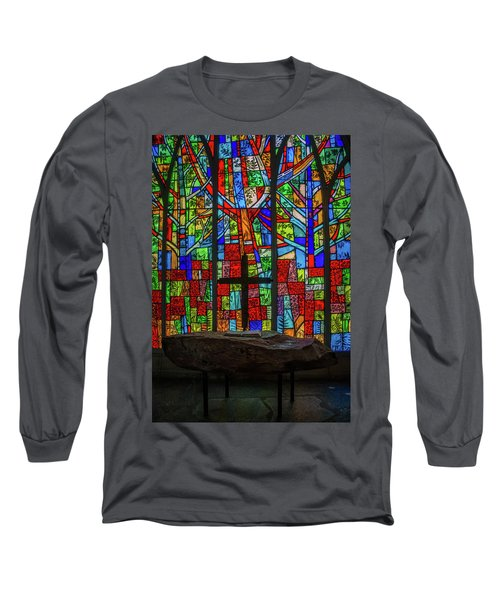 Stained Glass And Stone Altar Long Sleeve T-Shirt