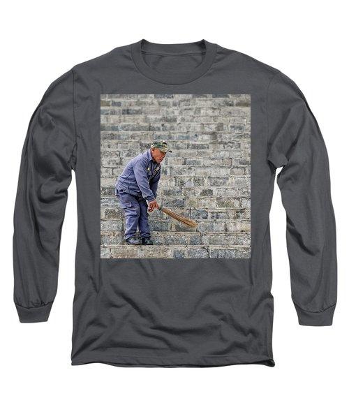 Stair Sweeper In Bhutan Long Sleeve T-Shirt by Joe Bonita