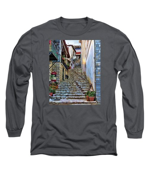 Stairs On Greek Island Long Sleeve T-Shirt