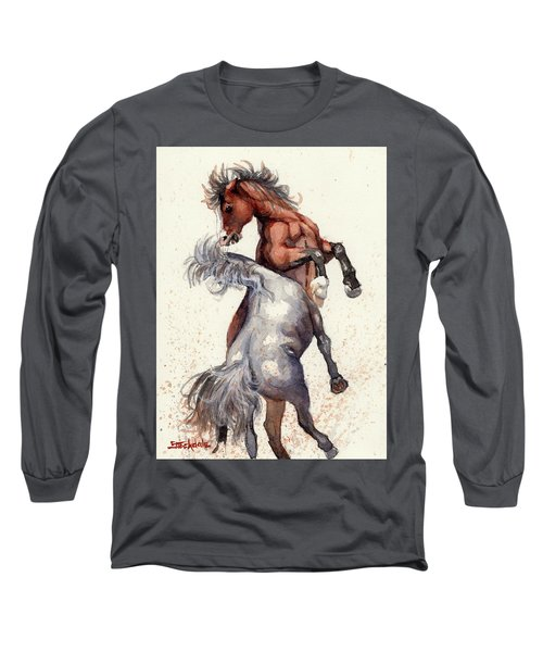Long Sleeve T-Shirt featuring the painting Stallion Showdown by Margaret Stockdale