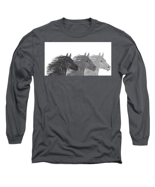 Long Sleeve T-Shirt featuring the drawing Stallions Shades by Nick Gustafson