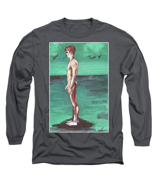 Standig On A Cold Beach With Hesitation  Long Sleeve T-Shirt