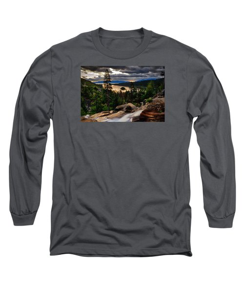 Standing At Eagle Falls Long Sleeve T-Shirt by Renee Sullivan