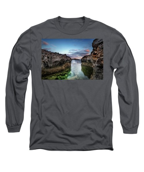 Standing At The Tip Of Sea Long Sleeve T-Shirt